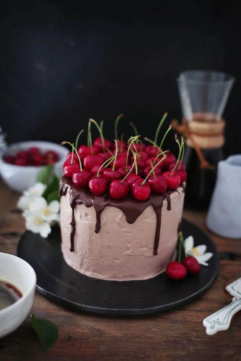 Mokka-Schokoladentorte mit Kirschen von Fräulein Klein