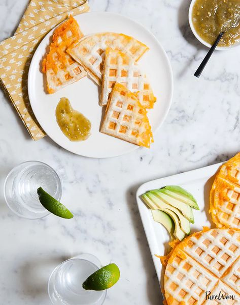 Waffle-Iron Quesadillas -  22 Recipes You Can Make in Your Waffle Iron – PureWow  - #quesadillas #waffle #WaffleIron #yummyquesadillas