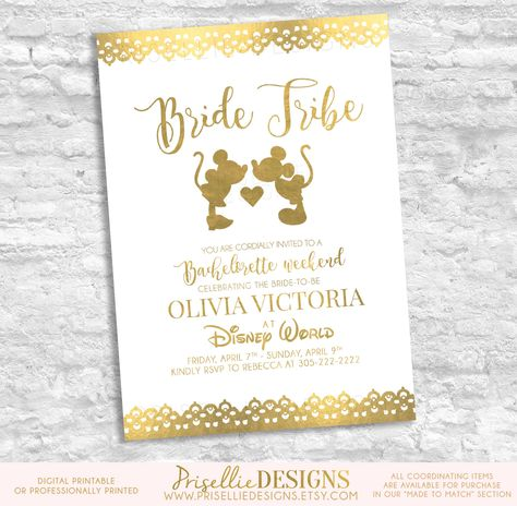 Disney Bachelorette Invitation, Disney Bachelorette Weekend Invitation, Disney Bride Tribe Invitation, Mickey and Minnie Bachelorette Party