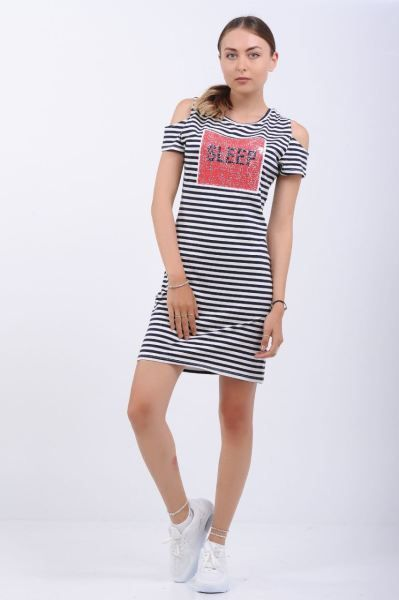 Elbise Pullu Baski Omuz Acik Cizgili Elbise Butik Dugun Kombin Elbise Kislik Bayangiyim Spor Abiye Abiye Mar Cizgili Elbise Elbise Elbise Modelleri