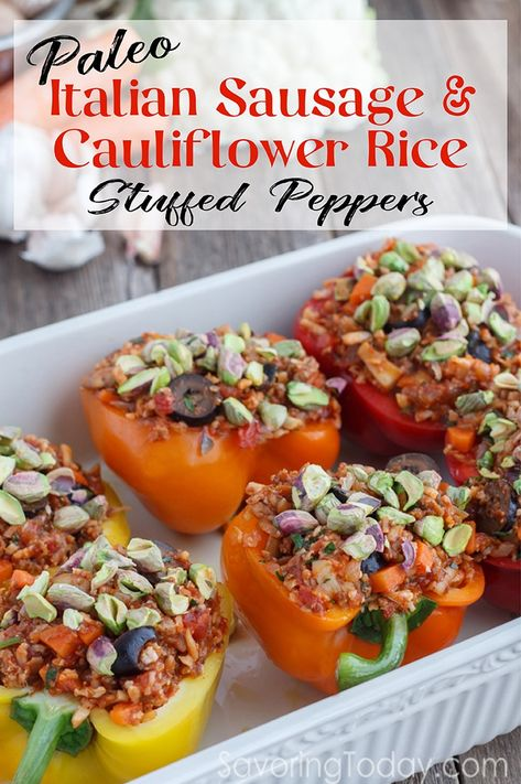 You'll love this Paleo Stuffed Peppers Recipe with Caramelized Onions and Pistachios. We harness the natural sweetness of caramelized onions to balance the acidic quality of peppers (that's what cheese usually does) and add the unique textural interest of pistachios.  Paleo and Whole30 Compliant ~ Gluten-free and Dairy-free too! #paleodiet #whole30 #stuffedpeppers #cauliflower #maindish via @savoringtoday