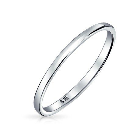 Flat Wedding Band Sterling Silver Stacking Ring Solid 925 Sterling Silver Plain Band Simple Ring