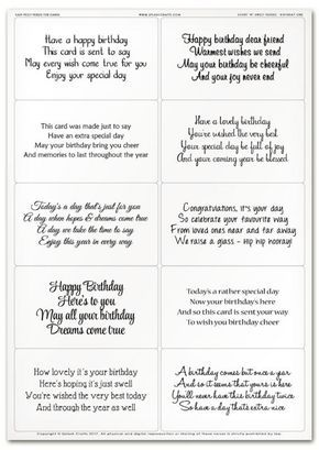 Easy Peely Verses For Cards Short N Sweet Birthday Sheet 1 Verses For Cards Birthday Card Messages Greeting Card Sentiments