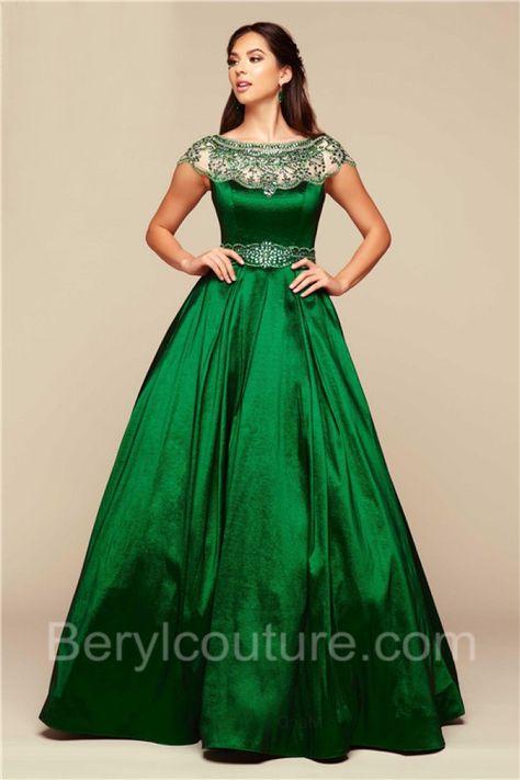 056dd26074 Modest Ball Gown Bateau Neck Cap Sleeve Emerald Green Taffeta Beaded Prom  Dress