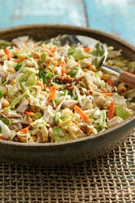 Quick crunchy chicken salad for summer picnics! [ SkinnyFoxDetox.com ]
