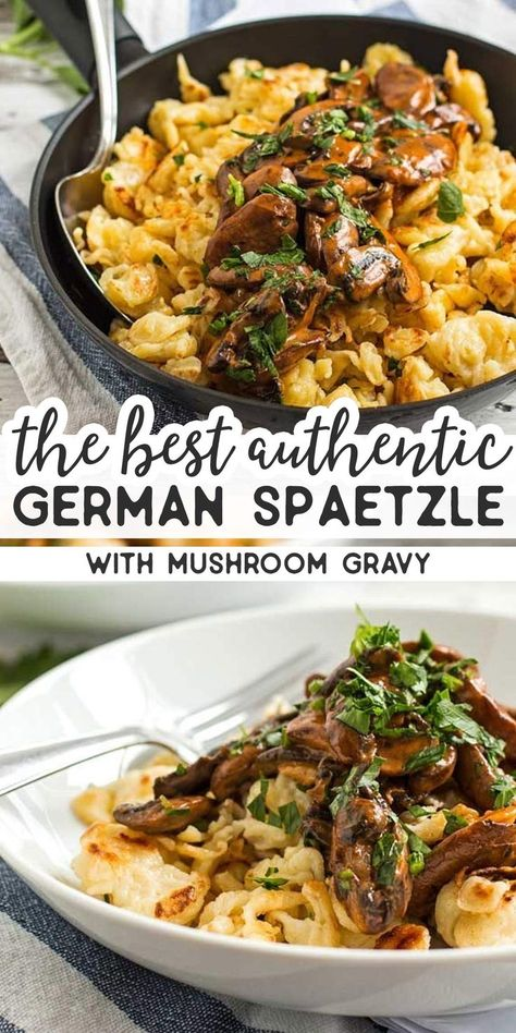 You don't need to travel to Munich to eat this traditional German spaetzle dish called Jägerspätzle! This Bavarian classic is often served at the Oktoberfest and makes for a seriously exciting (but si Pasta Dishes, Food Dishes, Side Dishes, Mushroom Gravy, Mushroom Sauce, German Spaetzle, Spaetzle Recipe, Oktoberfest Food, Eat This