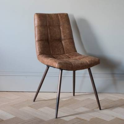Set Of 2 Brown Darwin Chairs Ledersessel Braun Leder Esszimmer Stuhle Lederstuhle