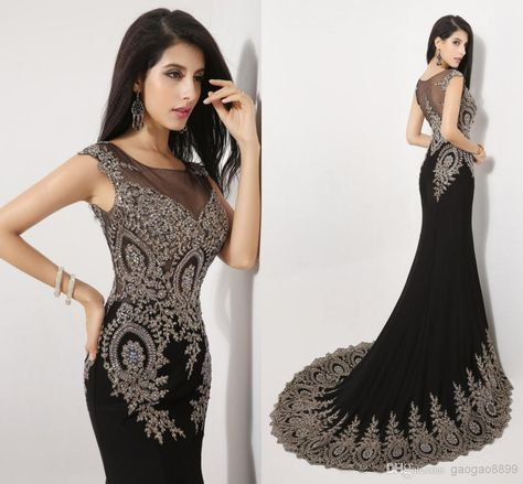 da0612f099 Wholesale Amazing New Sheer Neck Black Crystal Pageant Evening Dresses  Appliques Beads Real Image Prom Party Gowns 2014 Arabic India In Stock SSJ,  Free ...