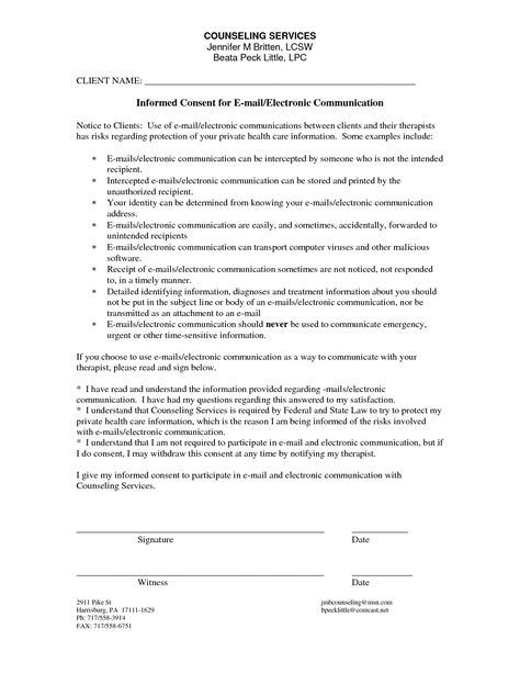 Counseling Informed Consent Form Template  Homework