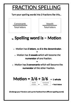 Fraction Spelling Activity Spelling Lists With A Twist Spelling Activities Spelling Lists Spelling Words