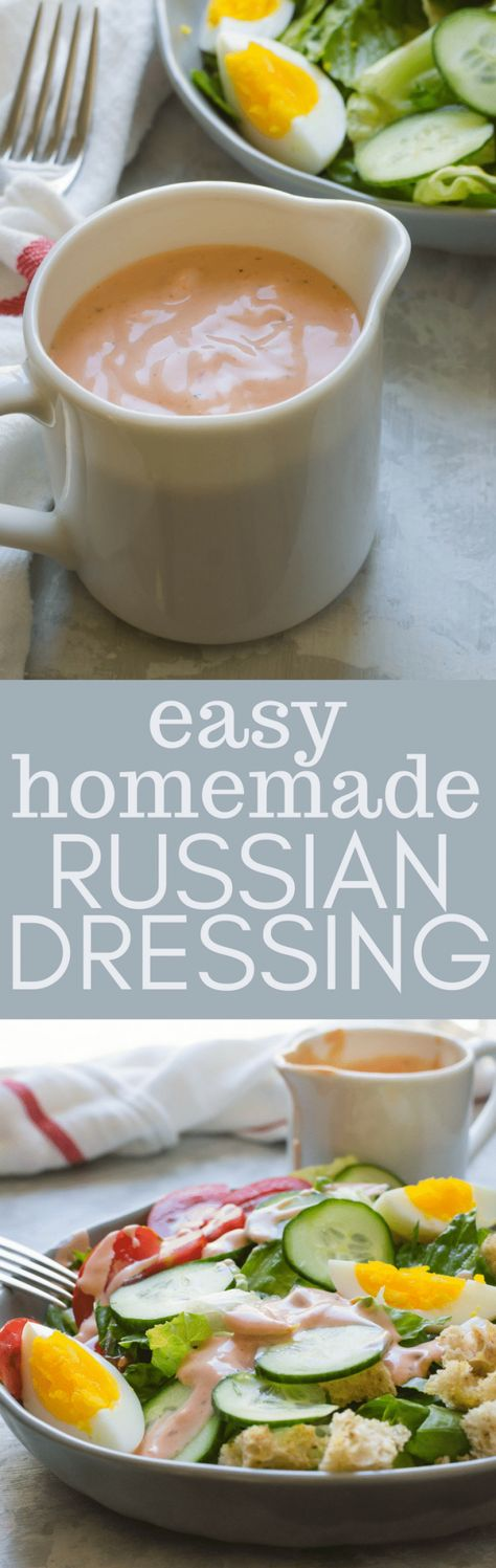 need a good Russian salad dressing recipe? This easy homemade Russian dressing only needs 4 ingredients and five minutes and this Russian dressing recipe is good on salads, burgers and of course, Reuben sandwiches! #russiandressing #saladdressing #saladdressingrecipe #dressingrecipe #homemadesaladdressing #easysaladdressing #specialsauce #dressingforreubens #reubens #creamydressing #creamydressingrecipe