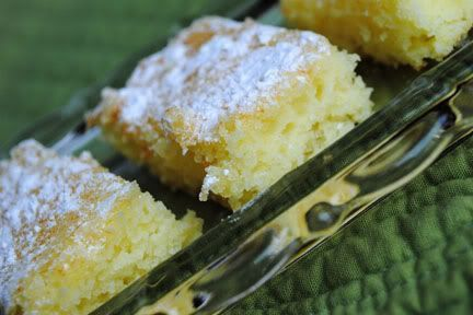 I'm sold!!! :) 2 ingredient lemon bars..box of angel food cake mix and a can of lemon pie filling... Mix them together and bake in a 9x13 cake pan at 350 degrees for 20 minutes. As they are cooling, you can sprinkle with powder sugar if you wish (Which I guess technically makes this a 3-ingredient recipe).