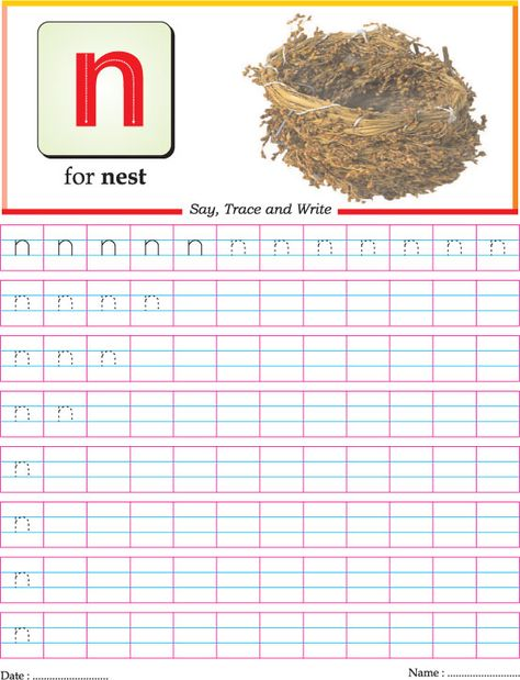 Letter Tracing: small letter N | Homeschooling: Alphabet | Pinterest