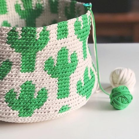 Cactus Basket – stuff steph makes Crochet Motifs, Bead Crochet, Diy Crochet, Crochet Stitches, Crochet Case, Crochet Pillow, Tapestry Crochet, Crab Stitch, Embroidery