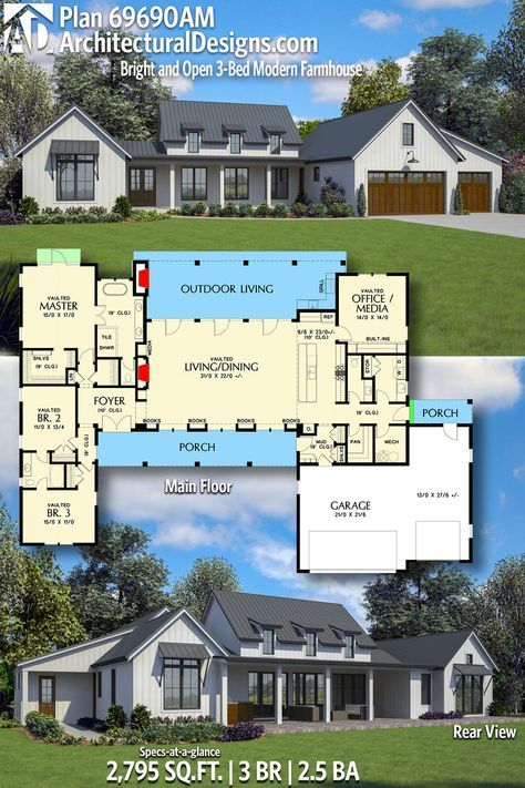 Plan 69690am Bright And Open Modern Farmhouse New House Plans Dream House Plans House Plans Farmhouse