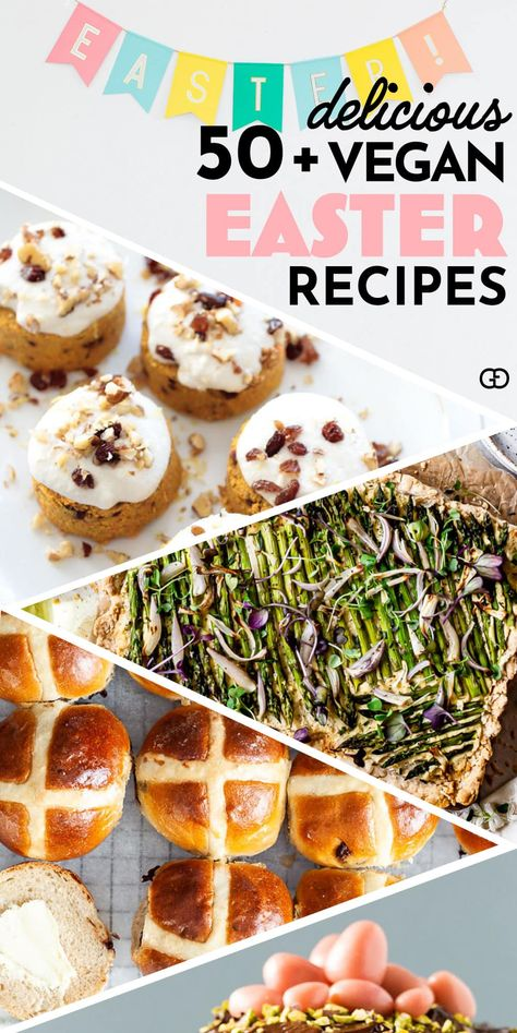 50+ eggcellent vegan Easter recipes that are guaranteed to impress! Yummy vegan Easter dinner, brunch, lunch dinner, and dessert ideas to satisfy everyone in your family! #veganrecipes #easter #easterrecipes