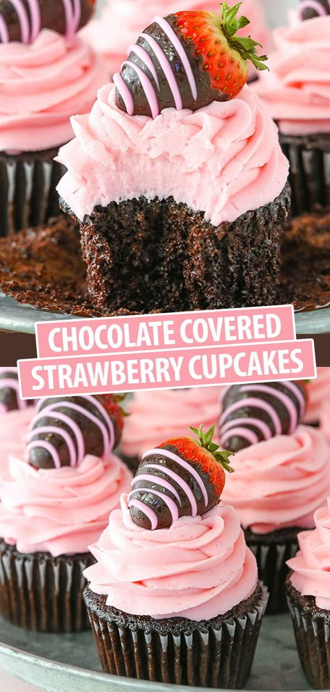 cupcake recipes These Chocolate Covered Strawberry Cupcakes are made with a moist chocolate cupcake recipe, fresh strawberry frosting and delicious chocolate covered strawberries! They are so fun and perfect for Valentines Day! Valentines Day Chocolates, Valentine Day Cupcakes, Fun Cupcakes, Chocolate Cupcakes Decoration, Birthday Cupcakes, Recipe For Cupcakes, Cool Cupcake Recipes, Cute Cupcake Ideas, Wedding Cupcake Recipes
