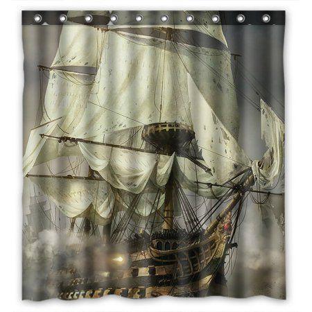 Home Pirate Bathroom Decor Nautical Shower Curtains Pirate