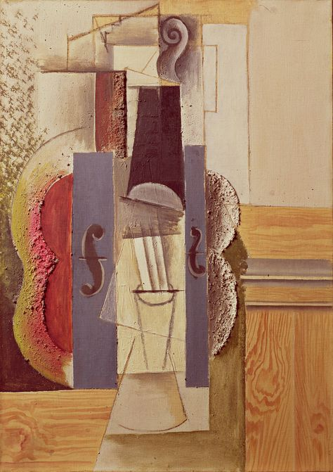 we heart art: Violin Hanging on the Wall 1913 Pablo Picasso (Spanish oil, spackle with sand, enamel, charcoal on canvas approx (Strange new art style