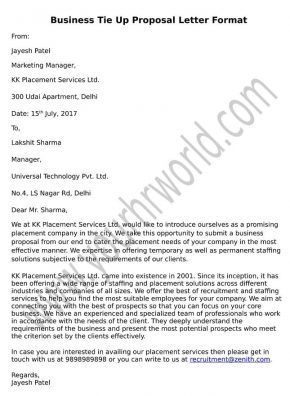 Business Tie Up Proposal Letter Format Proposal Letter Proposal