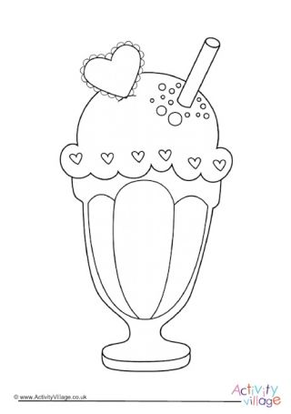 Icecream Sundae Colouring Page Coloring Pages Ice Cream