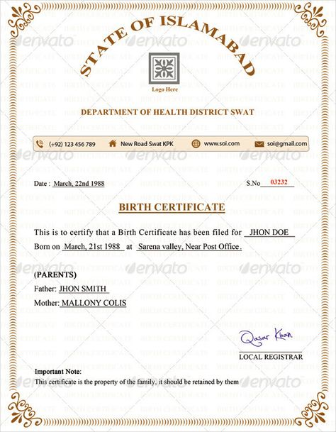 Birth Certificate Template u2013 31+ Free Word, PDF, PSD Format - birth certificate template for school project