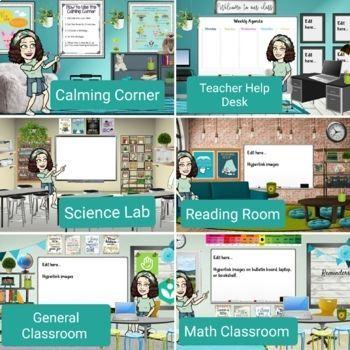 Bitmoji Virtual Classroom Scenes Editable In Google Slides Google Classroom Teachers Virtual Classrooms Interactive Classroom