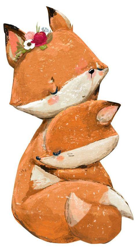 Wandtattoo Kinderzimmer Aquarell Fuchse Wandtattoo Waldtiere