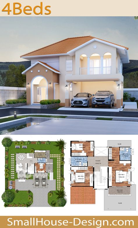 House Design Plans 15x19 with 4 Bedrooms. EARTH HOME SERIES Tropical StyleLine EA-131.  2-story house, 4 bedrooms, 3 bathrooms, Parking for 2 cars, Usable area 234 square meters, Land area 72 Square Wah. 15.50 meters wide, 19 meters long, Floor plan 1, Floor plan 2, EA-129 EA-132