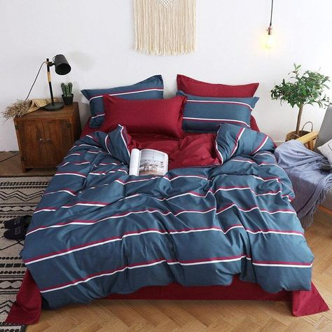 Nordic Simple Bedding Set Adult Duvet Cover Sets Bedclothes Bed Linen Sheet Single Double Queen King size Qulit Covers 240/220 - Blue-stripe / Double 4pcs 180x220