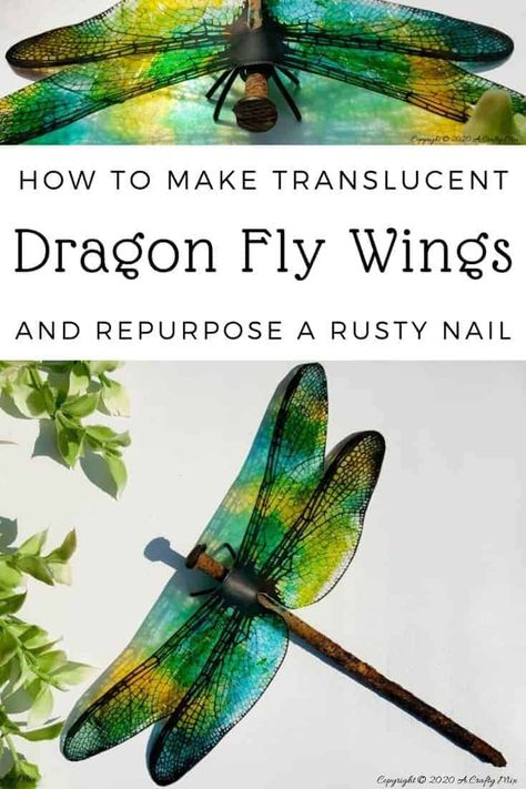 A rusty nail has never looked more gorgeous with these translucent dragonfly wings. Full tutorial includes 2 free printables to make dragonfly and butterfly wings. Diy Craft Projects, Craft Tutorials, Decor Crafts, Fun Crafts, Diy And Crafts, Craft Ideas, Craft Art, Project Ideas, Craft Decorations