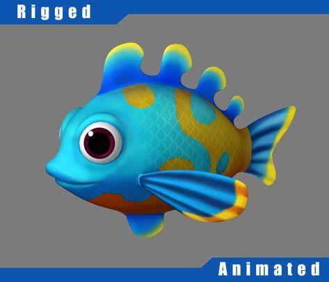 cartoon underwater scene rigged animated 3d model - 473×406