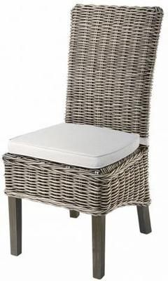 Grey Wash High Back Rattan Dining Chair With Cushion Dining