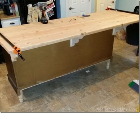 DIY Wood Countertop. Dresser to an Island the Chronicles: Part 3 | #smallwoodcrafts