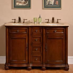Silkroad Exclusive 52 In English Chestnut Double Sink Bathroom Vanity With Travertine Travertine Bathroom Vanity Double Sink Bathroom Vanity Double Sink Vanity