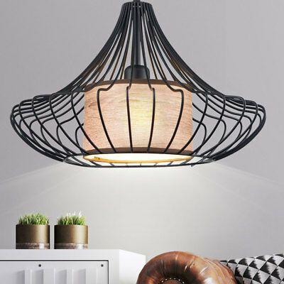 Retro Käfig Hänge Lampe schwarz Schlaf Zimmer Vintage Stil Decken Pendel Leuchte