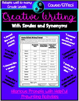 This Hilarious Writing Resource Infuses And Reinforces The Concepts Of Cause And Effect Similes Synonyms Editin Creative Writing Thesaurus Activities Simile