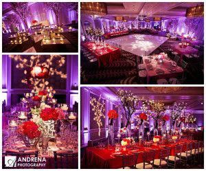 Purple And Red Wedding Reception Romantic In 2020 Red Wedding
