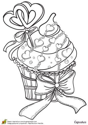 Coloriage D Un Cupcake Special Amoureux Parseme De Petits Cœurs Sur Une Delicieuse Creme Hugolescargot Com Coloriage Livre De Couleur Coloriage Gateau