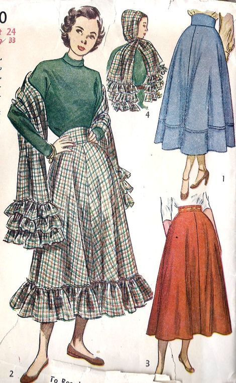 1940s Fashion: 1948; Misses Skirt and Scarf. Winter Outfit Fashion Inspiration/ Vintage Pattern/ Vintage Illustration/ Fashion design #1940s #1940sfashion #Winteroutfit #illustration #Fashiondesign #vintagepattern #sewing #skirt #scarf