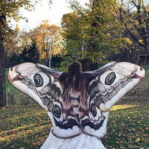 Moth Wings Costume Butterfly Cape Fairy Wings Festival Clothing Burning Man Moth Costume Schmetterling Motte Karneval