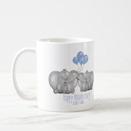14th Ivory Wedding Anniversary Elephant Gift Coffee Mug Zazzle Com Elephant Gifts Wedding Anniversary Ivory Wedding