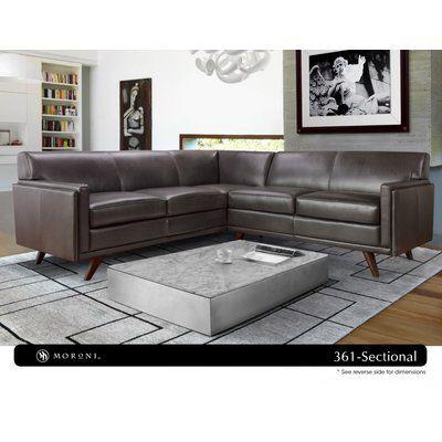 Ari 136 5 Wide Genuine Leather Symmetrical Corner Sectional Mid Century Sectional Sofa Leather Sectional Modern Sofa Sectional