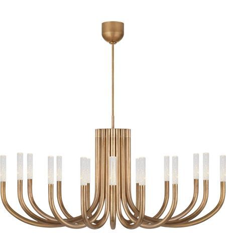 Visual Comfort Kw5585ab Sg Kelly Wearstler Rousseau Led 50 Inch Antique Burnished Brass Chandelier Ceiling Light In Seeded Glass Large Visual Comfort Chandelier Chandelier Ceiling Lights Visual Comfort