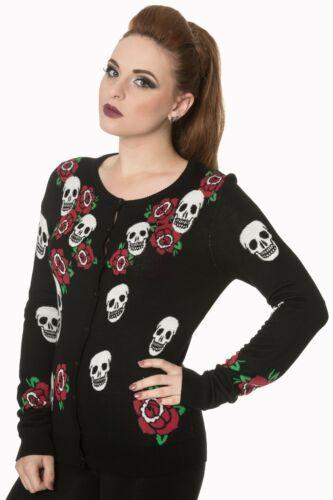 Women/'s Black Sugar Skull Gothic Punk Emo Rockabilly Cardigan By Banned Apparel
