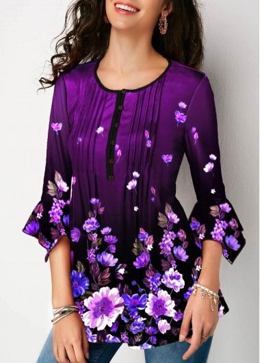 Flare Sleeve Floral Print Crinkle Chest Blouse | modlily.com - USD $29.96