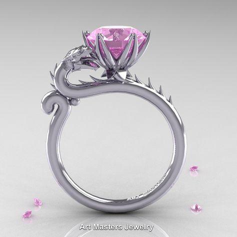 Art Masters 14K White Gold 3.0 Ct Light Pink Sapphire Dragon Engagement Ring…