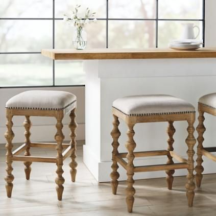 Campbell Carved Backless Counter Stool 24 H Seat Frontgate Counter Stools Backless Bar Stools Farmhouse Bar Stools