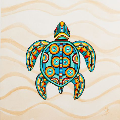 Turtle with polka dots childrens art
