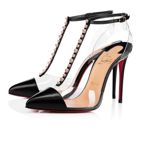 A Transparent Pvc Slingback And Vamp Create A Modern Floating Effect For The Seductive Black Kidskin T Strap Pump Punctuated With Edgy Rose Goldtone Te En 2020 Tirantes